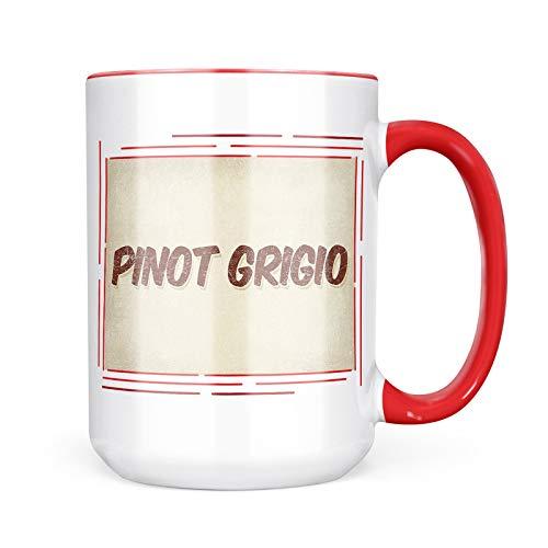 Neonblond Custom Coffee Mug Pinot Grigio Wine, Vintage style 15oz Personalized Name