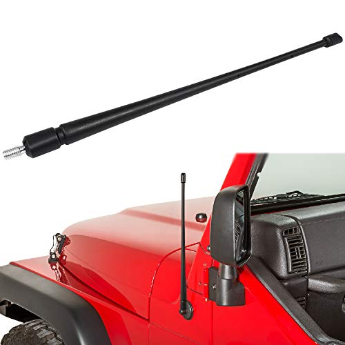 Jeep Wrangler Antenna - Unlimited 2007-2019 JK JKU JL JLU 13.8 Inch Shorty Jeep Antenna CB Mount Kit Flexible Rubber Radio Antenna Replacement ()