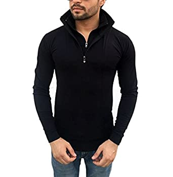 Tees Collection Men's Stylish Half Zip Double Flap Collar Full ...