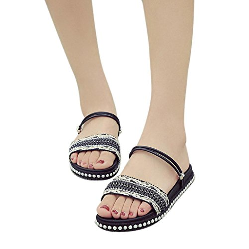 Hunzedレディースフラット靴クリスタルボヘミアレジャーLadys Basicサンダルpeep-toeアウトドアバックストラップ靴