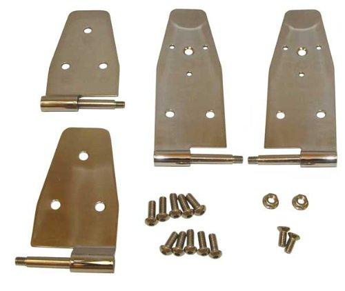 Door Hinges Full - Door Hinges, Stainless, 95-99 Wrangler with Full Steel Doors