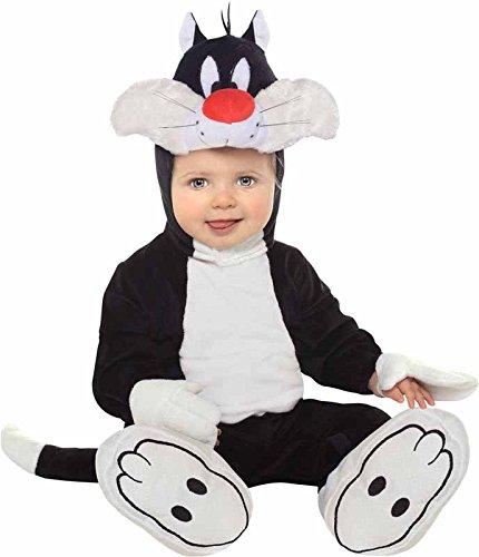 [Looney Tunes Sylvester Romper Costume, White/Black, 6-12 Months] (Infant Sylvester Costumes)