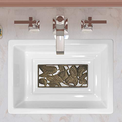 Enbol EO2014B White Rectangle Drop-in Self Rimming Porcelain Ceramic Bathroom Vanity Sink Hand Washing Basin for Luxury Lavatory with Unique Appearance Copper Bottom Grid