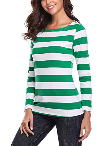 HUHOT Green Strip Shirt, Women's Long Sleeve Boatneck Relax Fit Casual Cotton Tees(M, HS6447-10)