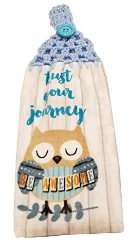 Handcrafted Grey Crochet Topped Trust Your Journey Owl Kitchen Towel1