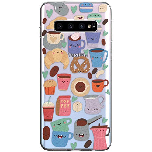 WooWie TPU Silicone Phone Case for Samsung J8 J7 V J6 Prime J5 J4 Core J3 J2 Pro J1 Full Body Cute Funny Cake Design Girls Coffee Bakery Woman Anti Fingerprint Slim Fit Cookie Sweet Print Lightweight -