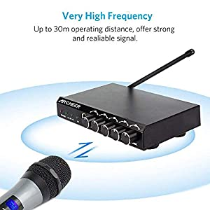 ARCHEER Bluetooth Wireless Microphone System VHF Dual Chanel Handheld Micorphone Mini Portable Singing Mixer Karaoke Machine for Outdoor Wedding, Home KTV, Conference, Evening Party, Speech by ARCHEER