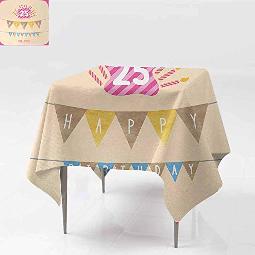 DILITECK Easy Care Tablecloth 25th Birthday Pink Framework Cute Flags Letters Burning Candlesticks Gifts Colorful Print Excellent Durability W63 xL63 - Mint Candlesticks