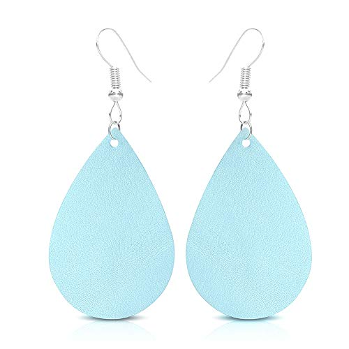 SUMMER LOVE Teardrop Leather Earrings for Women Lightweight Leather Drop Earrings Unique Gift ()