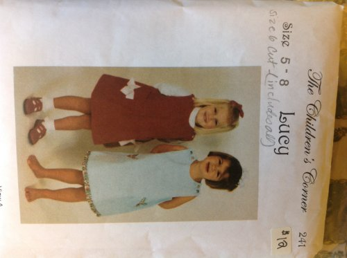 The Children's Corner 241 Sewing Pattern Button Shoulder Jumper or Sundress Has Lined Hem Ruffle Underlay Option or Piping Trim or Trimmed Patch Pockets. Girls 5-6-7-8