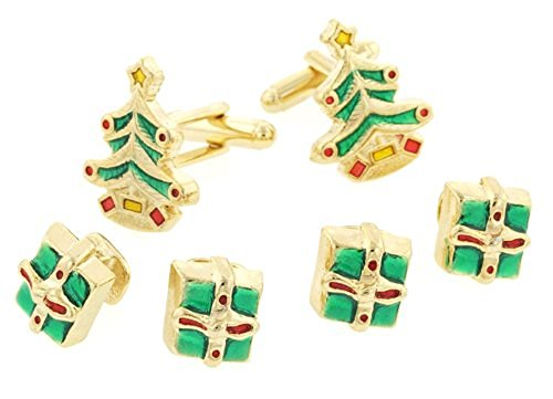JJ Weston Christmas Tree and Gifts Tuxedo Cufflinks and Shirt Studs. Made in the USA. by JJ Weston