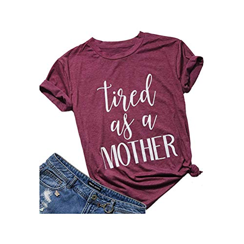 XIANGLIOOD Women's Tired As A Mother Letter Print Loose Casual Blouse T Shirts