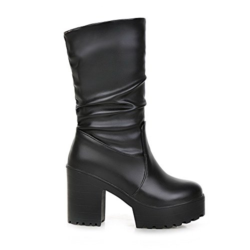 High Round Solid Heels Black Low top Allhqfashion Soft Toe Closed Boots Women's Material wCtO1xq4z