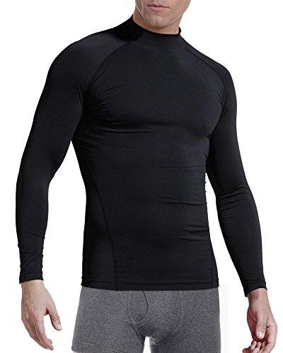 KalvonFu Men's Cotton Long Sleeve Turtleneck Athletic Compression Sport Running T Shirt (M, - Sleeve Turtleneck Athletic Long