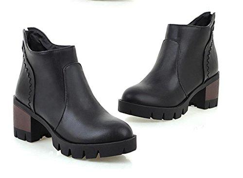 MNII Women Ankle Martin Boots Round Tassel Martin Toe High Heel Short Boots- Fashion shoes Black NQ2Lj