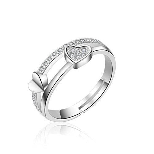 Sinwo Women Beauty Hollow Paw Print Love Heart Ring Open Adjustable Ring Jewelry Gift (Silver) ()