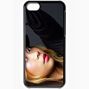 Personalized iPhone 5C Cell phone Case/Cover Skin Asian Black Eyes Brunette Hat T Shirt Black Background Black