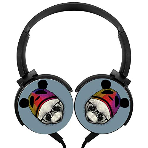 (Wired Stereo Headphone Cute Panda Portable Noise Cancelling Over Ear Mic Headset Earphone Earpiece)