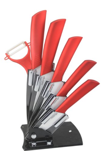 (Melange 7-Piece Ceramic Knife Set with Metal Red Handle and White Blade, Includes 6-Inch Chef's, 5-Inch Santoku, 5-Inch Slicing, 4-Inch Utility, 3-Inch Pairing, Peeler and Acrylic)