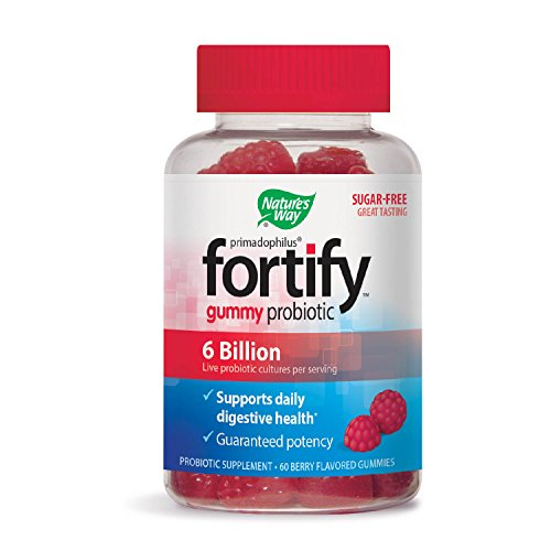 Natures Way Fortify Sugar-Free Probiotic Gummies: Promotes Immune Function*, Digestive Health*, 6 Billion Live probiotics per Serving, Gluten-Free, Dairy-Free, Soy-Free; Berry Flavor; 60 Count