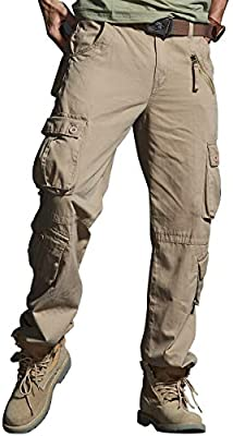 Mens Tactical Army Military Cargo Pants Casual Slim Fit Casual Relaxed-Fit Outdoor Work Pants Pocket