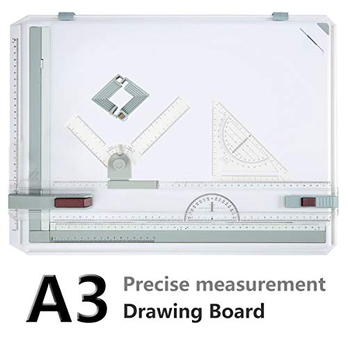 (Drawing Board, A3 Drawing Tool Set Multi-Funtion Drawing Board Table Graphic Architectural Drawing Board with Clear Rule Parallel Motion and 180 Degree Adjustable Measuring System Angle)