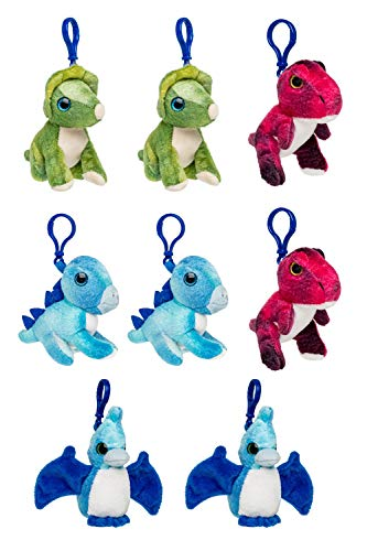 Wildlife Tree 8 Pack Dino, 4 inch, Stuffed Animals Backpack Clip Toy Keychain, Bundled Plush Mini, Kids Party Favors -