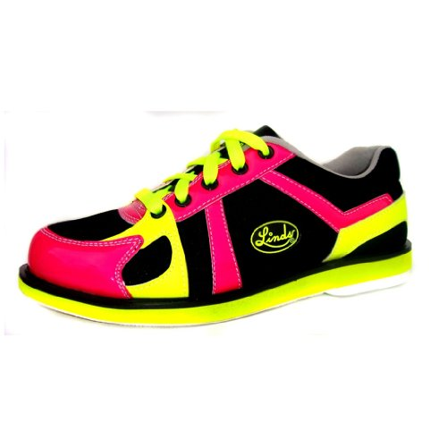 Linds Womens Leah Bowling Shoes (7 M US, Black/Pink/Yellow) (Pink Ladies Bowling Bag)