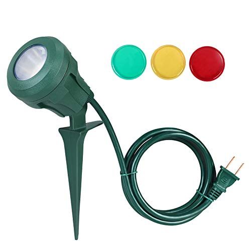 DEWENWILS Outdoor Spotlight Stake with Plug, 400lm LED Waterproof Flag Light with 3 Lenses (Red Yellow Green) for Chritmas,Tree,Yard,5 FT Extension Cord,UL Listed (Blue White And Green Flag With Tree)