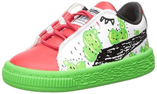 PUMA unisex-baby Basket Cactus Monster AC Inf Sneaker, Poinsettia-Classic Green-Puma White, 10 M US Toddler