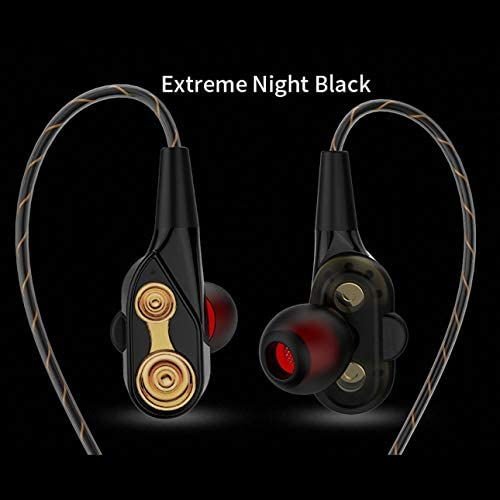 Liobaba Dual Dynamic Drivers Earbuds Sport Headphones with Microphone Noise-isolating Volume Hands Free Control Headset for Gym Running Sports