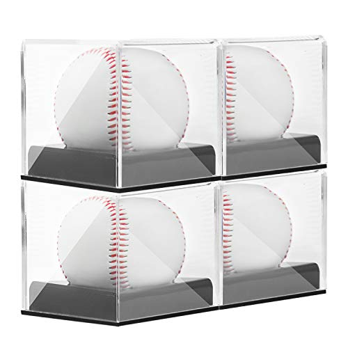 (Tebery 4 Pack Acrylic Baseball Display Case Square Clear Baseball Display Box Cube Baseball Holder)