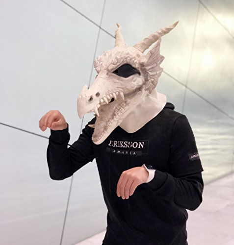 Amazlab Costume Party Latex White Dragon Mask Decoration Halloween Party Novelty Props Supplier