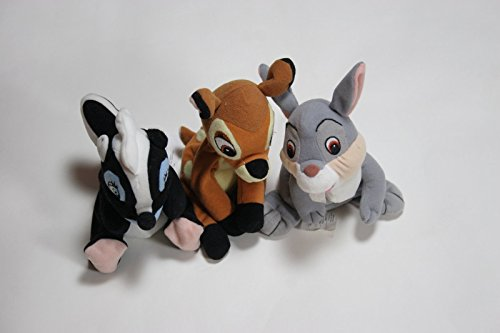 Bambi, Thumper and Flower Bean Bag Plush Set - Each about 8 Inches