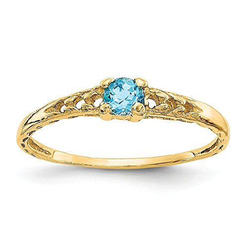 Ring Baby Heart Topaz - 14k Yellow Gold 3mm Blue Topaz Birthstone Baby Band Ring Size 3.00 December Fine Jewelry Gifts For Women For Her