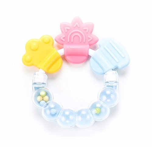 Hot Sale! 1Pcs Rattle Rings Teethers Silicone Baby Teether Massager Infant Training Tooth Cute Toddler Bell Toys Mordedor De Silicone (Sky Blue) - Diy Rocker Girl Costume