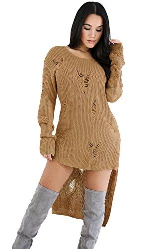 OUR WINGS Women Khaki Long Sleeve Hi-lo Distress Sweater Top XL