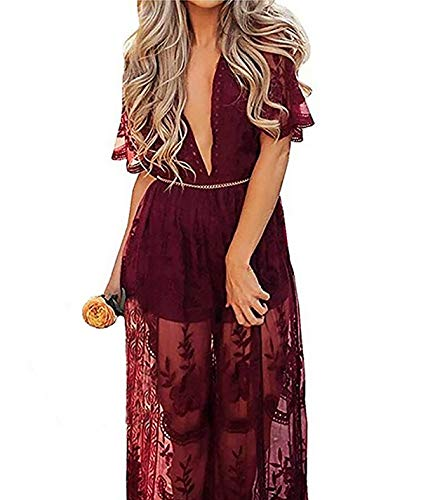 Wicky LS Women's Sexy Short Sleeve Long Dress Low V-Neck Lace Romper (M, Wine Red) ()