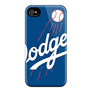 Great Cell-phone Hard Cover For Iphone 4/4s With Support Your Personal Customized Vivid Los Angeles Dodgers Skin ColtonMorrill