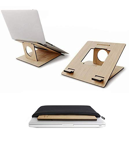 Bamboo Laptop & Tablet Stand, Portable, Lightweight, Compact, and Ergonomic for Work, Travel, and Home. Compatible with All Laptops & Tablets