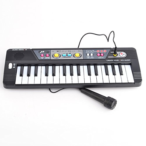 Keyboard, WOLFBUSH 32 Key Electronic Keyboard Piano with Microphone Musical Toy for Children – Black