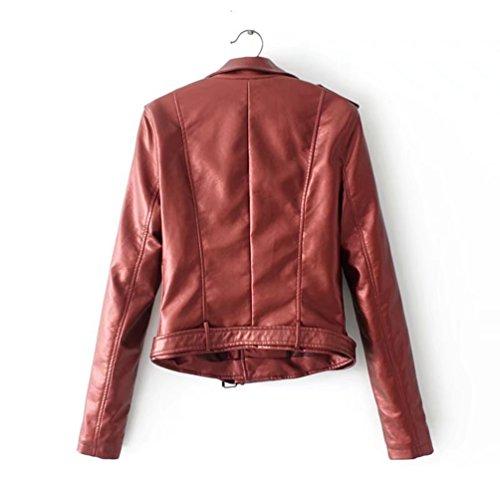 Moto Vintage Finta Manica Giubbotto Cappotti Lunga Rosso Invernali Giacche 2 Pelle Donne Anguang zqgnpRw