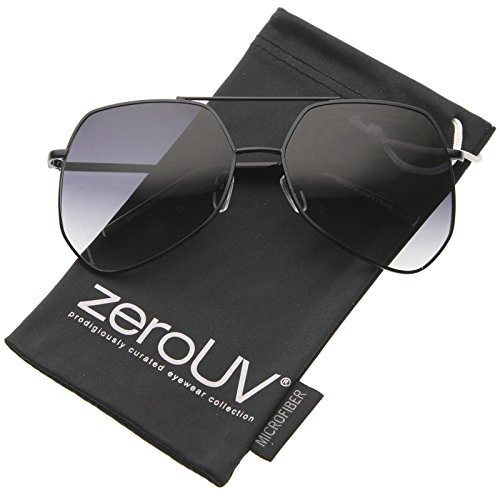 zeroUV - Modern Oversized Metal Brow Bar Thin Temple Geometric Aviator Sunglasses 60mm (Black / - Ant Grey Sunglasses