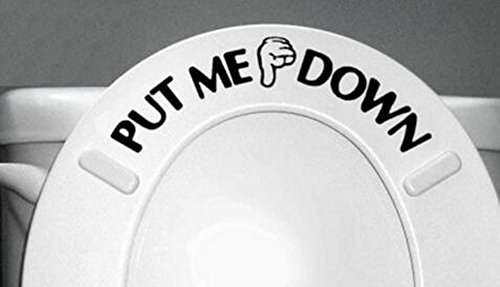 Funny Put ME Down Gesture Hand Decal Bathroom Toilet Seat Sticker Sign MTSZZF