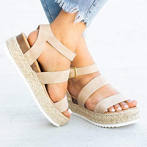 US Women Flat Platform Peep Toe Sandals Espadrilles Ankle Strap Pumps Slip On