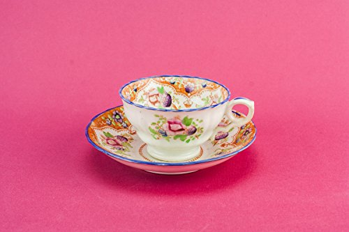 Unusual Antique Floral Saucer Cup Coffee TEACUP High Victorian Orange Pottery Combine Gift Mid 19th Century English LS
