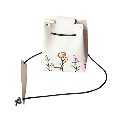bandoulière à à à d'épaule femmes unique sac fleurs Beige à fermeture bandoulière de Sac Sacs mode sac Messenger main boucle Mengonee PU fille Broderie x8qdWwRpzf