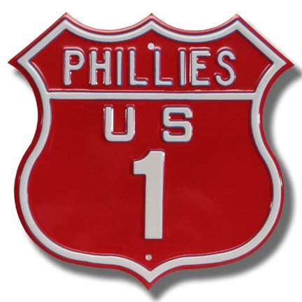 Authentic Street Signs Steel Route Sign: Phillies US 1