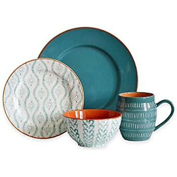 Baum Tangiers 16-Piece Dinnerware Set in Turquoise  sc 1 st  Amazon.com & Amazon.com | Better Homes and Gardens Teal Medallion 12-Piece ...