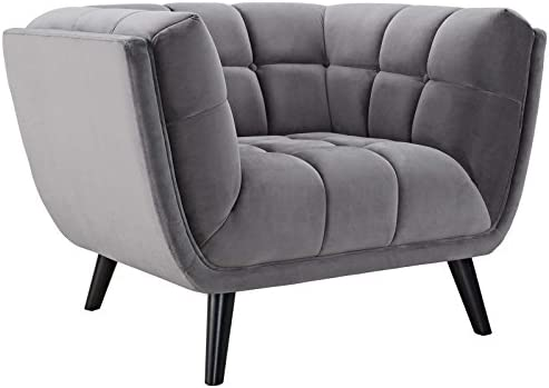 Modway Bestow Mid-Century Performance Velvet Upholstered Tufted Accent Lounge Chair